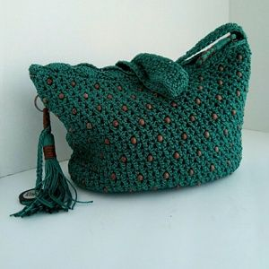 The Sak turquoise crochet small hobo w/wood beads